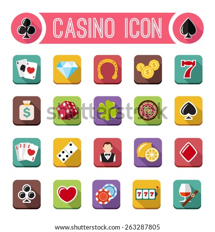 Vector casino flat icons, slot machine - stock vector
