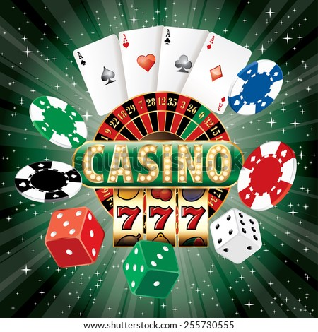 vector casino icons on green starburst - stock vector