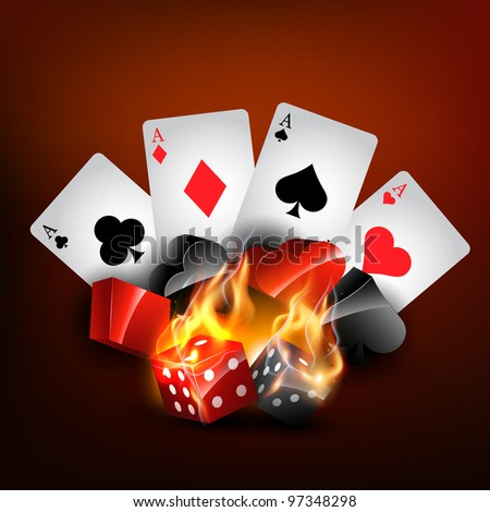 vector casino playing card in burning style - stock vector