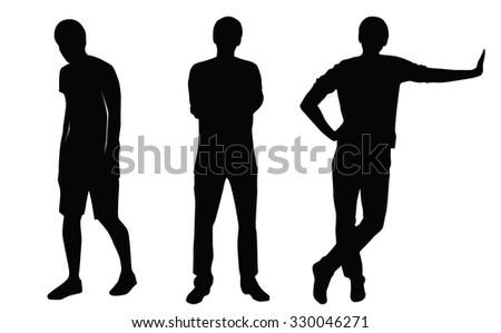 vector casual man silhouette set stock vector 330046271 shutterstock rh shutterstock com man silhouette vector download male head silhouette vector