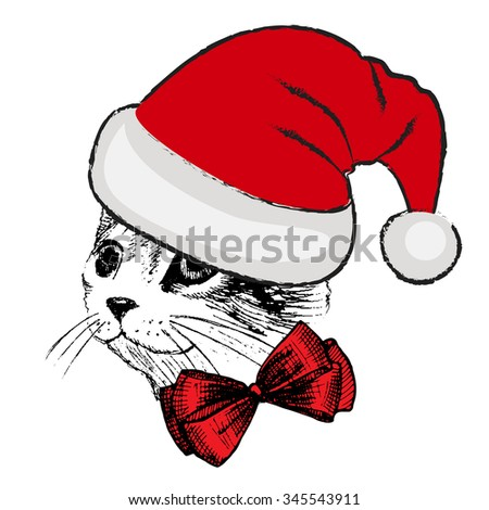 Vector cat in a red hat and bow. Santa in red. Christmas kitten. - stock vector