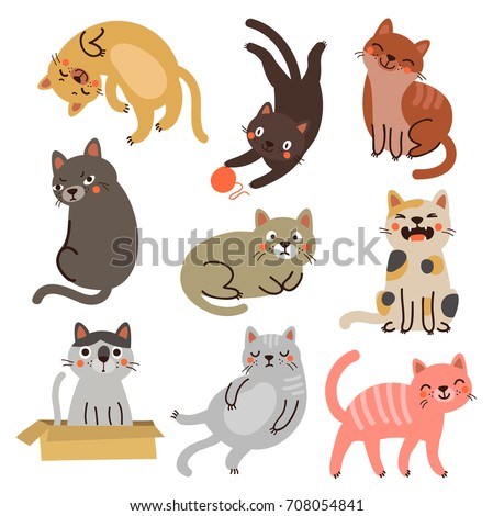 Vector cats. Set characters. Cute cat
