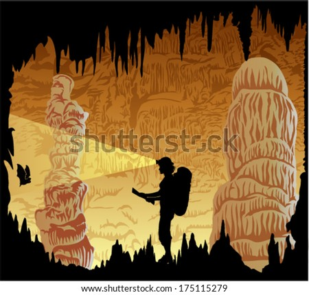 Vector caver in cave with stalactites and stalagmites - stock vector