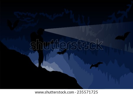 Vector caver in cave with stalactites and stalagmites and bats - stock vector