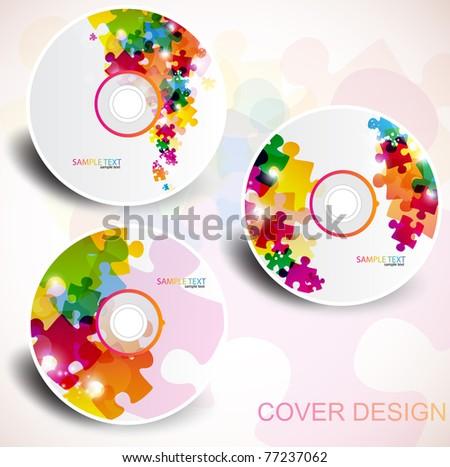 Vector CD cover design. Editable templates. Puzzle Design - stock vector