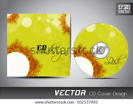 Vector CD cover design with floral and grunge effect on green color. EPS 10. Vector illustration.