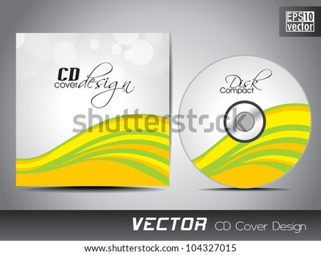 Vector CD cover design with wave pattern in yellow and green color. EPS 10. Vector illustration.