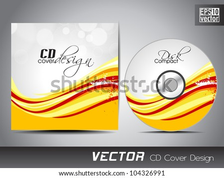 Vector CD cover design with wave pattern in yellow and red color. EPS 10. Vector illustration.