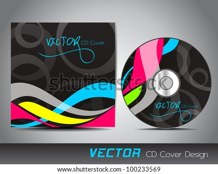 Vector CD cover on colorful wave and abstract background and space for your text. EPS 10. Vector illustration.