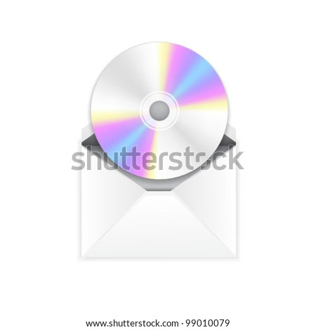 Vector cd disc in envelope. Disc/music/program by mail - stock vector