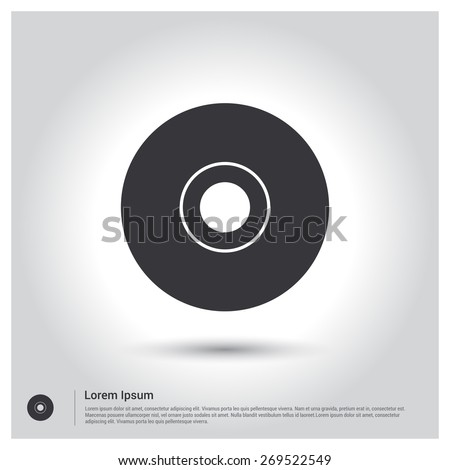 Vector CD or DVD icon. Flat design style - stock vector
