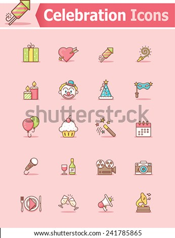 Vector celebration and party icon set