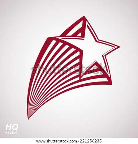 Vector celestial object, pentagonal comet star illustration. Graphical stylized comet tail. Military retro design element. - stock vector