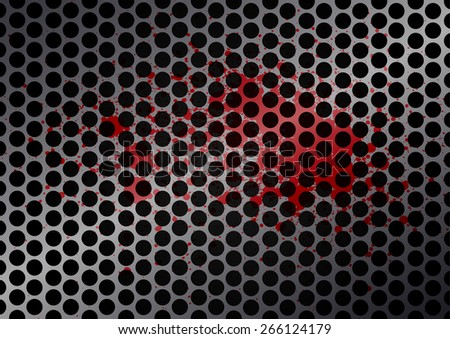 Vector cell metal with splatter red color background - stock vector