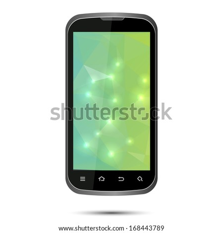 vector cell phone with green screen isolated - stock vector