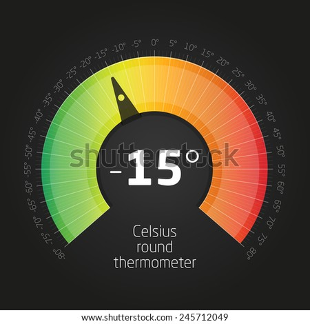 Vector Celsus Round Thermometer - stock vector