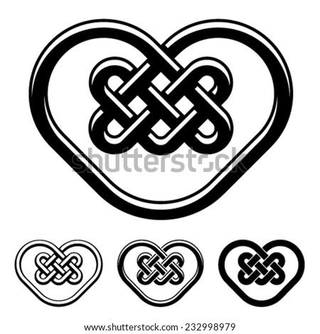vector celtic heart black white symbols - stock vector
