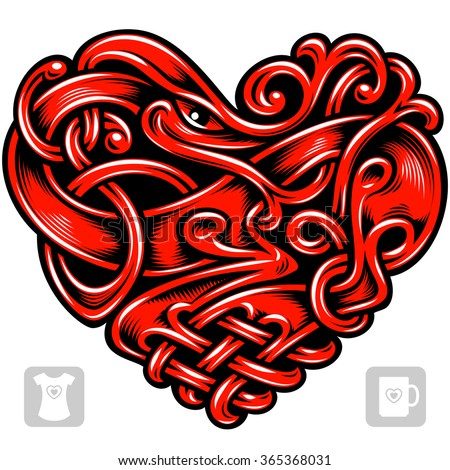 Vector celtic pattern in the shape of red heart - stock vector