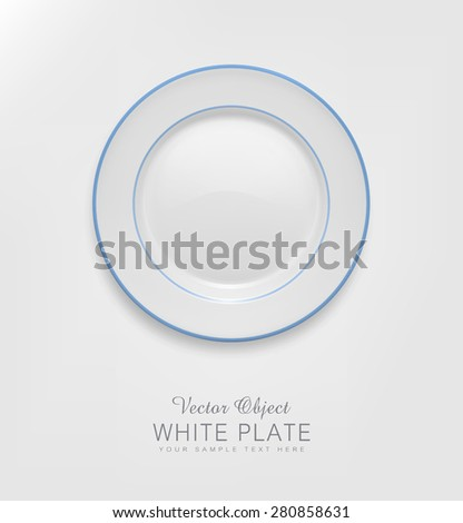 vector ceramic plate with a blue border - stock vector