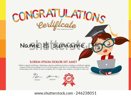 Certificate kids diploma kindergarten template layout for Certificate template for kids