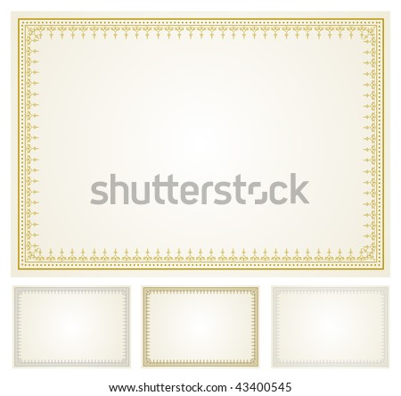 Vector Certificate Frame Set - stock vector