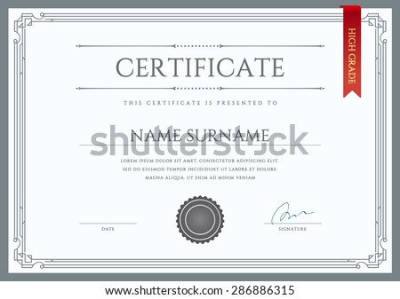 Vector Certificate or Diploma Template ready for Print or use it on the Internet - stock vector