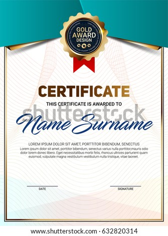Vector certificate diploma template luxury line stock vector vector certificate or diploma template with luxury line pattern and gold award emblem in turquoise yadclub Gallery