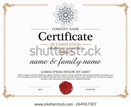 Vector certificate template stock vector 264967307 shutterstock vector certificate template yadclub Image collections