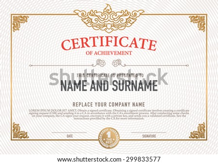 Vector certificate template stock vector 299833577 shutterstock vector certificate template yadclub Choice Image