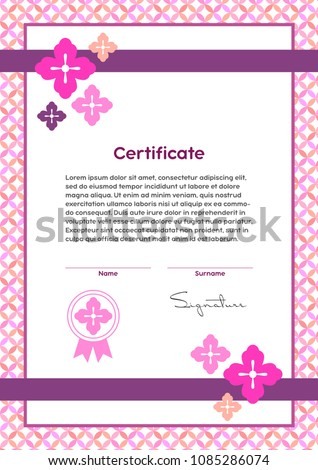 Vector certificate template japanese modern style stock vector 2018 vector certificate template japanese modern style beauty salon yoga spa makeup yadclub Image collections