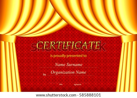 Vector certificate template curtains stock vector 585888101 vector certificate template with curtains yadclub Images