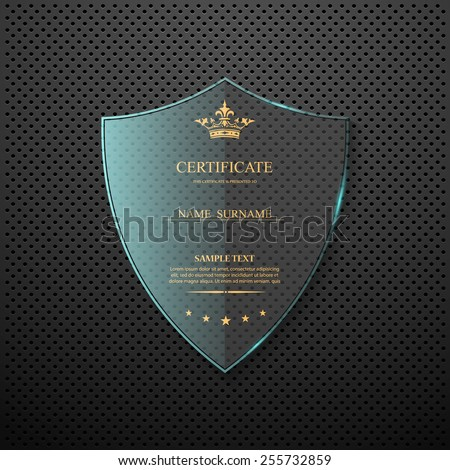 Vector certificate template with glass shield. - stock vector