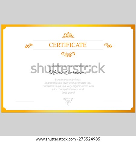Vector certificate template with  gold frame - stock vector