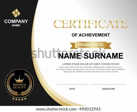 Vector Certificate Template Luxury Gold Black Stock Vector 490032961