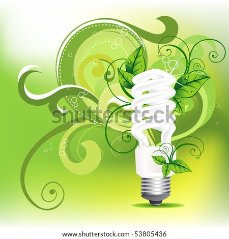 vector CFL design with leafs around it - stock vector