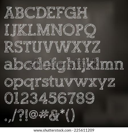 Vector chalk alphabet on blackboard - stock vector