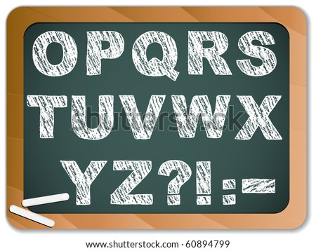Vector - Chalk Alphabet on Blackboard - stock vector