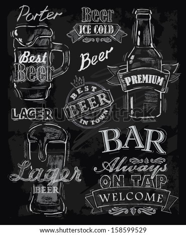 vector chalk beer on chalkboard background - stock vector