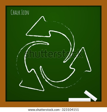 Vector chalk drawn doodle circle round arrows for business, diagram on school board