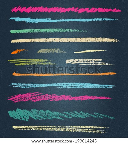 vector chalk lines or brushes - stock vector