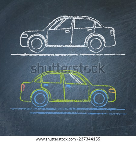 Vector chalk sketches of car on blackboard - stock vector