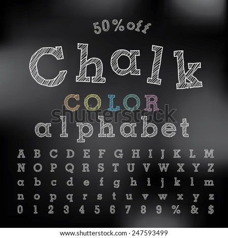 vector chalkboard alphabet - stock vector