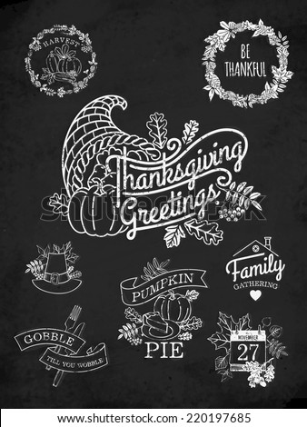 Vector chalkboard collection of nine thanksgiving decoration elements | Happy thanksgiving lettering items | Thanksgiving word art with calendar, horn of plenty and autumn leaves - stock vector