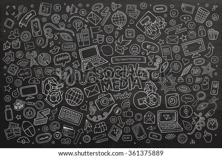 Vector chalkboard line art Doodle cartoon set of objects and symbols on the Social Media theme - stock vector