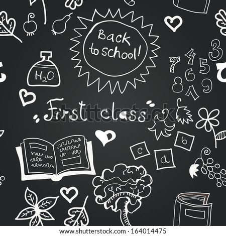 Vector chalkboard school seamless pattern - stock vector