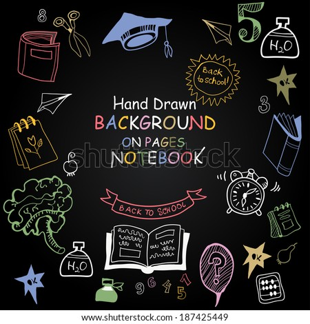 Vector chalkboard school seamless pattern. Back to School. Funny Pictures chalk on a blackboard. Icons of education and school life. - stock vector