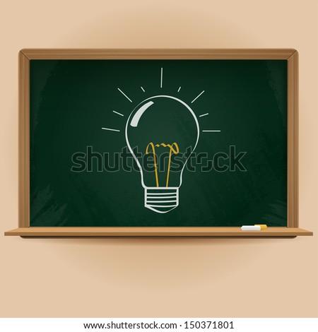 vector chalkboard with idea sign - stock vector