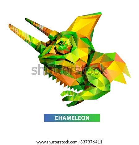 Vector - chameleon head geometric (illustration of a many triangles) - stock vector