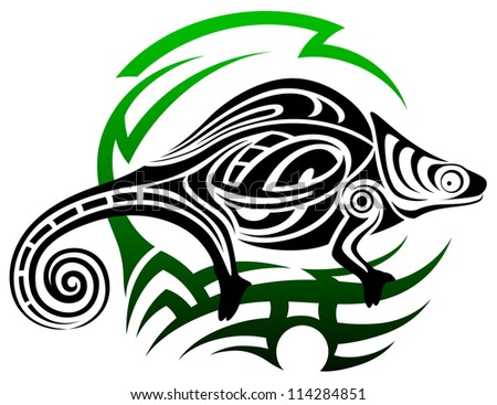 Vector chameleon, tribal tattoo - stock vector