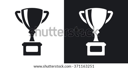 Vector champion's cup icon. Two-tone version on black and white background - stock vector
